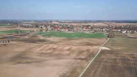 image de bourdon la vue aérienne de l'agriculture cultivée humide met en place le Ne Photographie stock libre de droits