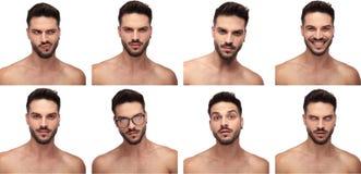 Image de collage d'un homme de torse nu faisant différents visages photo libre de droits
