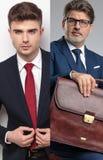 Image de collage d'un jeune type et d'un homme d'affaires supérieur photos libres de droits