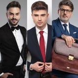 Image de collage de trois hommes beaux différents portant des costumes photo libre de droits