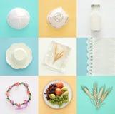Image de collage de vue supérieure des laitages et des fruits Symboles des vacances juives - Shavuot image libre de droits