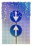 Image de concept de contradiction avec des panneaux routiers dans le sha de puzzle de jugsaw image stock