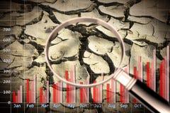 Image de concept de diagramme de précipitations avec une terre stérile sur le fond illustration stock