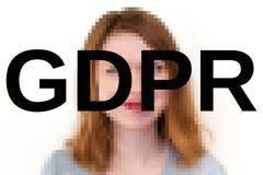 Image de concept de GDPR la femme est brouillée avec des lettres de GDPR dans l'avant photographie stock libre de droits