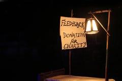 Image de concept, mot RÉTROACTION sur la toile blanche et poteau avec la lampe de nuit Photo libre de droits