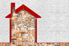 Image de concept de rendement énergétique de bâtiments - 3D rendre à la maison thermiquement isolé avec des murs de polystyrène images libres de droits