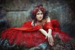 Image de conte de fées d'une fille dans la forêt images libres de droits