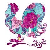 Image de coq, symbole de 2017 sur le calendrier chinois illustration de vecteur
