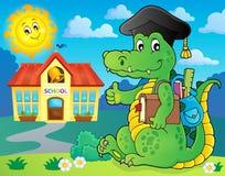 Image 2 de crocodile de thème d'école Photo libre de droits