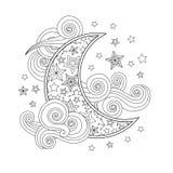 Image de découpe des étoiles en croissant de nuages de lune dans le style de griffonnage inspiré par zentangle d'isolement sur le Illustration de Vecteur