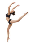 Image de danseur classique gracieux posant dans le saut Photographie stock