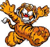 Image de dessin animé d'une mascotte courante heureuse de tigre Photo libre de droits
