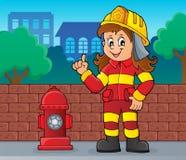 Image 2 de femme de sapeur-pompier illustration de vecteur