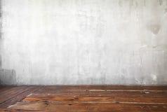 Image de fond gris de mur en béton et de vieux plancher en bois photo stock