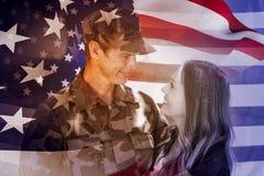 Image de foyer composée sur le drapeau des Etats-Unis Images libres de droits