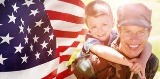 Image de foyer composée sur le drapeau des Etats-Unis photo libre de droits