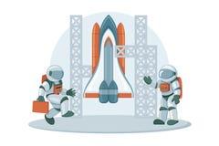 Image de héros de navette spatiale Vaisseau spatial avec des moteurs-fusées d'isolement sur le blanc illustration libre de droits