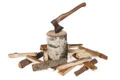 Image de hache dans le tronçon et les bois Images stock