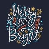 Image de inscription tirée par la main de vacances de Noël Joyeux et lumineux texte avec les éléments décoratifs de conception illustration de vecteur