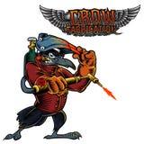 Image de mascotte de bande dessinée de Raven, d'une corneille ou d'un oiseau noir Photos libres de droits
