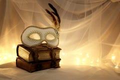 Image de masque vénitien élégant au-dessus de vieux livres de vintage devant le fond de Tulle Photographie stock