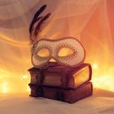 Image de masque vénitien élégant au-dessus de vieux livres de vintage devant le fond de Tulle Images libres de droits