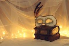 Image de masque vénitien élégant au-dessus de vieux livres de vintage devant le fond de Tulle Photo libre de droits