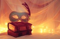 Image de masque vénitien élégant au-dessus de vieux livres de vintage devant le fond de Tulle Photo stock