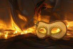 Image de masque vénitien blanc élégant au-dessus de fond de Tulle Images stock