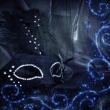 Image de masque vénitien noir dramatique élégant au-dessus de backgro de Tulle Photo stock