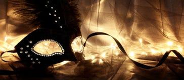 Image de masque vénitien noir dramatique élégant au-dessus de fond de Tulle Images libres de droits