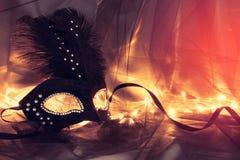 Image de masque vénitien noir dramatique élégant au-dessus de fond de Tulle Photos libres de droits
