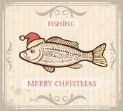 Image de Noël de la pêche avec des poissons dans le chapeau de Santa  Photo stock