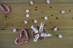 Image de nourriture et de boissons de photographie de saison d'hiver avec la tasse de chocolat chaud et les mini guimauves formée Photo stock