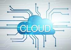 Image de nuage de concept de Digital avec le mot sur le backg de puce de circuit Photos stock