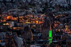 Image de nuit de ville de Goreme, Cappadocia images libres de droits