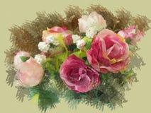 Image de peinture d'aquarelle - des roses roses sont faites en tissu photo stock
