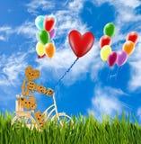 Image de petits homme et ballons décoratifs sur une bicyclette contre le ciel Photo libre de droits