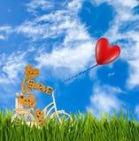 Image de petits homme et ballons décoratifs sur une bicyclette contre le ciel Photographie stock