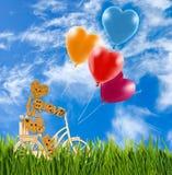 Image de petits homme et ballons décoratifs sur une bicyclette contre le ciel Photo stock
