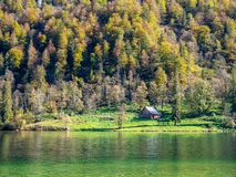 Image de peu de maison à côté d'un lac et forrest images libres de droits