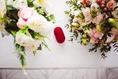 Image de photo d'une boîte rouge de velours avec des anneaux de mariage des jeunes mariés Photos stock