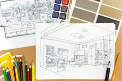 Image de plan rapproché de lieu de travail d'architectes Photographie stock libre de droits