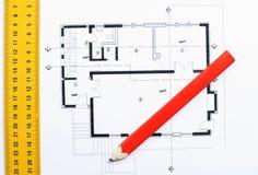 Image de plan rapproché de plan de construction de maison Images libres de droits