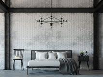 Image de rendu de la chambre à coucher 3d de style de grenier Image libre de droits