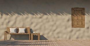 Image de rendu de la terrasse 3D de maison d'argile Photos stock