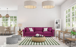 Image de rendu de salon blanc moderne et de salle à manger 3d Photo stock