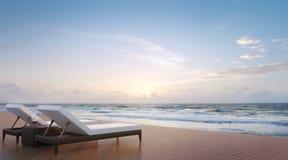 Image de rendu de terrasse et de lit pliant 3d de côté de mer Image libre de droits