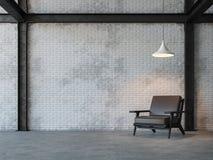 Image de rendu du salon 3d de style de grenier Images libres de droits