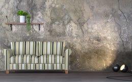 Image de rendu du salon 3d de style de grenier Photographie stock libre de droits